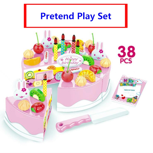 New 38pcs diy pretend play fruit cutting birthday cake - Cocina juguete aliexpress ...