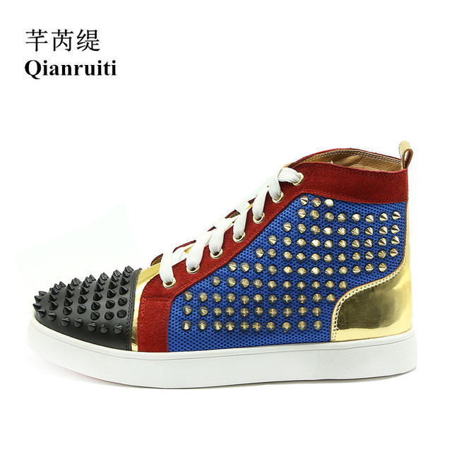 Qianruiti Men Gold Spike Shoes Patchwork Rivet Sneaker Lace-up Flat High  Top Men Camping Shoes Chaussure Homme Customized Color f9905bfd4a8f