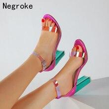 Summer Colorful PVC Women Sandals High Heels Shoes Woman Clear Transparent Heel Sexy Party Pumps Shoes Women Sandalias недорого