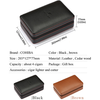 Portable Leather Cigar Case With Cutter And Lighter 1