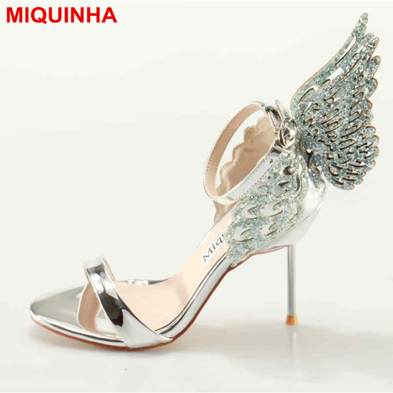 MIQUINHA Peep Toe Crystal Glitter Butterfly Wing Decor Women Pumps Ankle Buckle Design Mujer Sandalia Wedding Party Bling Shoe intex