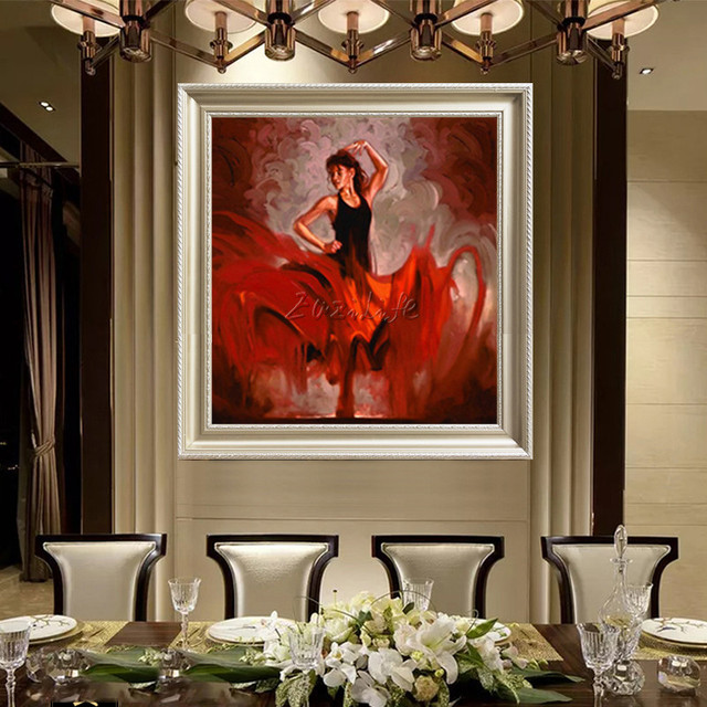 Spanish Flamenco Dancer painting  latina woman Oil painting on canvas hight Quality Hand-painted Painting latina Red Skirt12