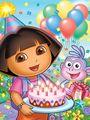 Dora The Explorer Happy Birthday Cake Art Wall Decor Fabric Poster P6202