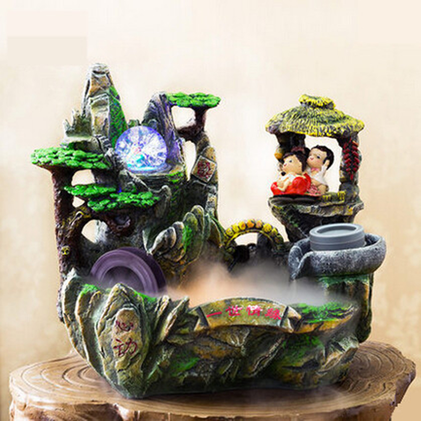 decorative resin craft aromatherapy home decoration water fountain feng shui wheel indoor air humidifier creative wedding - Fountain For Home Decoration