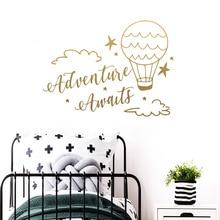 Large Adventure Awaits Hot Air Balloon Wall Sticker Vinyl Wallpaper Decor For Kids Rooms Decoration Stickers Muraux wallstickers