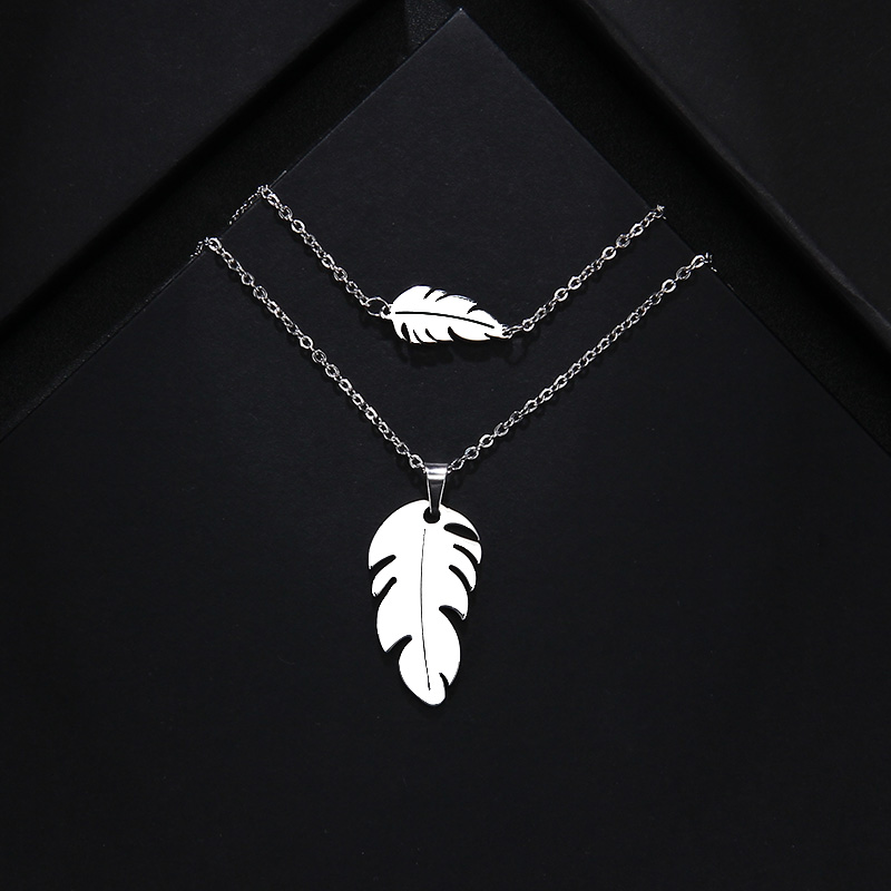 CACANA Stainless Steel Sets For Women Feather Shape Necklace Bracelet Earring Jewelry Lover's Engagement Jewelry S379 4