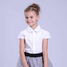 Big Girls White Blouse Summer Cotton Lace Girl Blouse For Girls Shirts Casual Kids Clothes School Uniforms Shirts 4 8 10 14 Year
