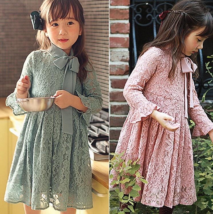 Girls longsleeves lace bowtie dress , girls winter dress ,kids clothes girls, 5pcs/lot CJL01