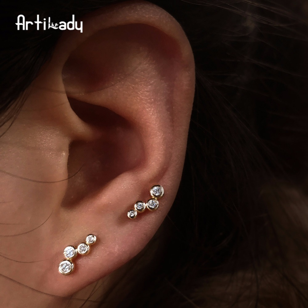 Artilady ear climber minimalist stud earrings crystal ear piecing pin ear crawler party jewelry gift for women dropshipping