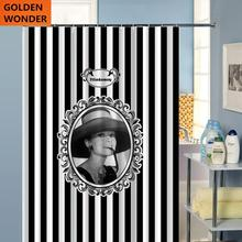 Shower Curtain Bathroom Audrey Hepburn White and Black Strip Blind Cortina Polyester Home Fashion Style Simple Design
