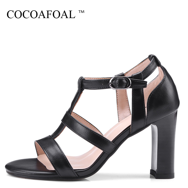 COCOAFOAL Women Gladiator Sandals Brown Red Black Plus Size 34 - 43 High Heels Sandals Sexy Summer Square Casual Heel Pumps 2018 women sandals elegant style 2018 new square heel solid color medium heel black beige gray female summer sandals plus size 34 40