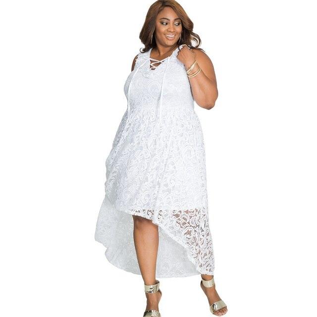 Plus Size Women Dress Lace White Summer Long Dress Casual 2018 Sun Dress Sleeveless V-Neck XXXXL XXXL Womens Beach Dresses 3