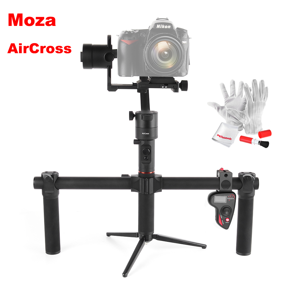 MOZA AirCross 3 Axis Stabilizer Dual Handheld Gimbal Handle Wireless Remote 1.8KG for Sony A7 Panasonic GH5 Mirrorless VS Zhiyun yuneec q500 typhoon quadcopter handheld cgo steadygrip gimbal black