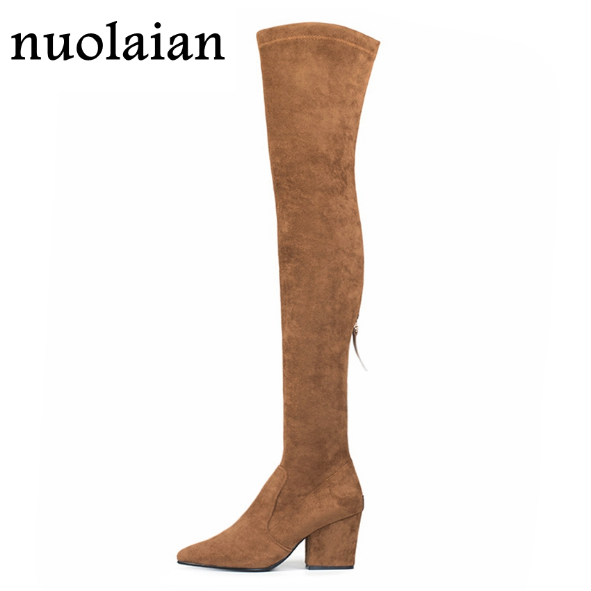 Brown Long Boot Lady Punk Winter Boots Woman High Heel Boots Over The Knee Motorcycle Boots Ladies Platform ShoeBrown Long Boot Lady Punk Winter Boots Woman High Heel Boots Over The Knee Motorcycle Boots Ladies Platform Shoe