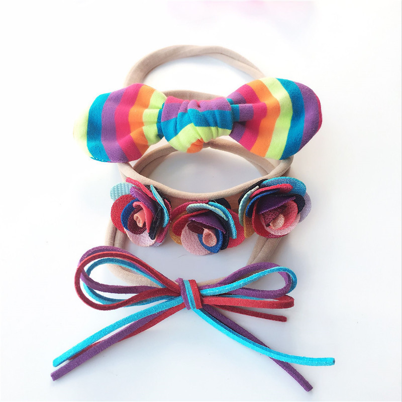 3 PCS New Rainbow Bowknot Rabbit Ears Baby Hairbands Children Headbands Elastic Hair Bands Kids Hair Accessories Girls Headwear