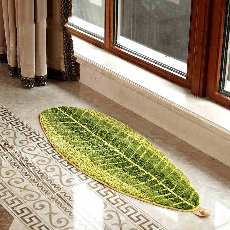 4 Size Bathroom carpet Green leaves shape Floor Mat Bath ...