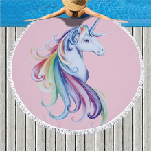 Cartoon Unicorn Large Round Beach Towel Microfiber Tassel Mandala Yoga Mat Blanket Swimming Bath Home Deco Bikini Cover Up