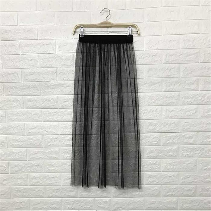 9399402892 Mujeres Falda larga verano coreano señoras Boho Sexy Vintage alta cintura  transparente Tulle malla de encaje