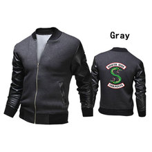 Leisure HIP HOP Riverdale Zipper Standing Collar Motorcycle Leather Sleeve Jacket
