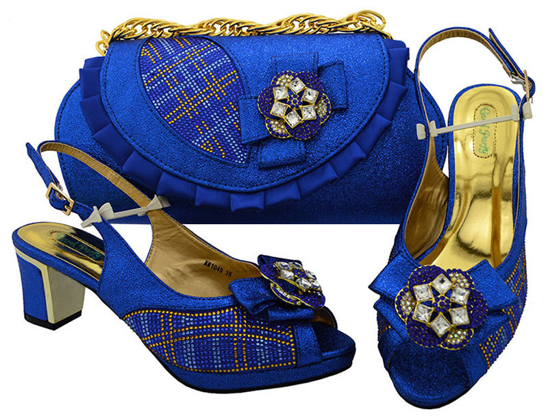Royal Blue Shoes and Bag Sets for African Women Shoes and Bags Matching Italian High Quality African Wedding High heel MM1049 g41 wonderful pattern european ladies shoes and bags sets with stone high quality women high heel with bag sets free shipping