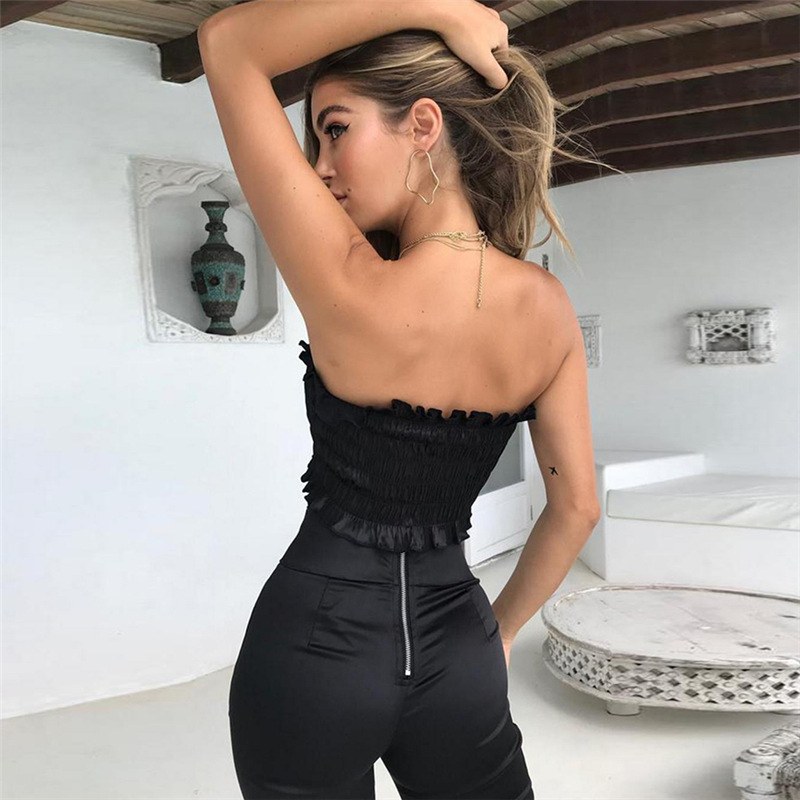 65b1adf9d57 Gwirpte 2018 New Summer Tube Black fungus edge Crop top Women Bow Tie Strap  Ruched tank Top Lettuce Edge Elastic Camis -in Tank Tops from Women s  Clothing ...