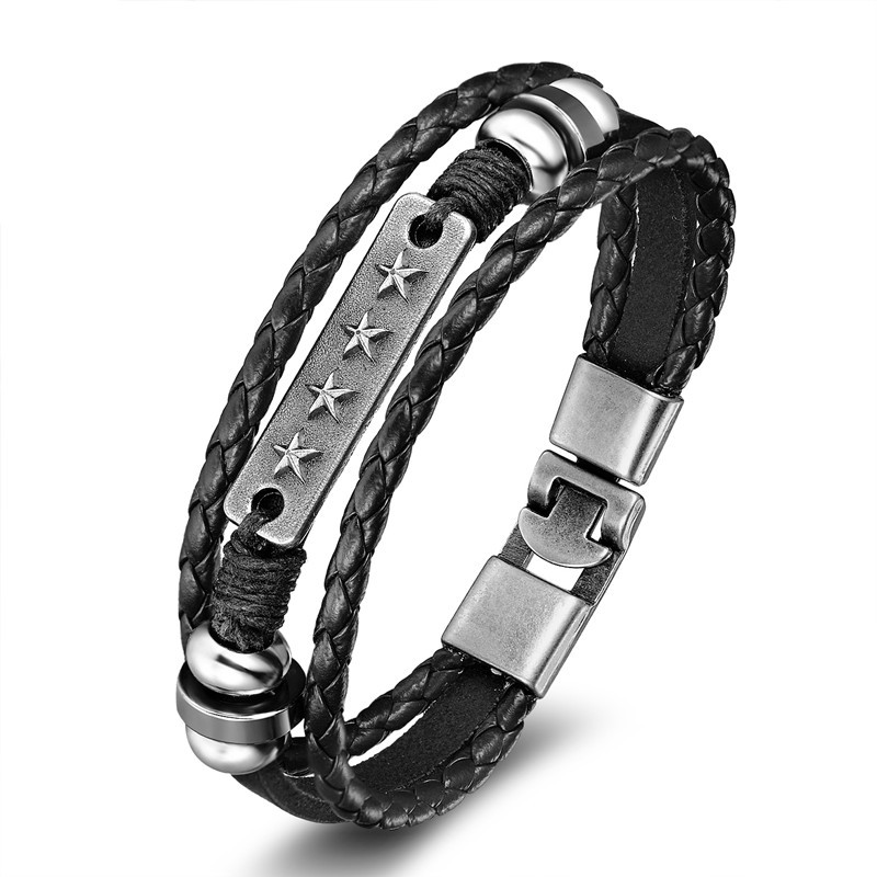 18 New Fashion 3 layer Leather Skull Bracelets&Bangles Handmade Round Rope Turn Buckle Bracelet For Women Men Charm bracelet 11