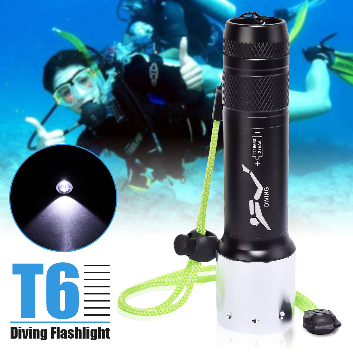 Smuxi 1pcs T6 LED Waterproof Diving Flashlight 3 Modes Super Bright Portable Torch Used 18650/AAA Battery Outdoor Camping Light