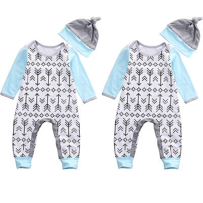 2Pcs/Set Newborn Baby Boys Girls Long Sleeve arrows Romper Jumpsuit Hat Outfit Arrows Print Clothes fashion 2pcs set newborn baby girls jumpsuit toddler girls flower pattern outfit clothes romper bodysuit pants