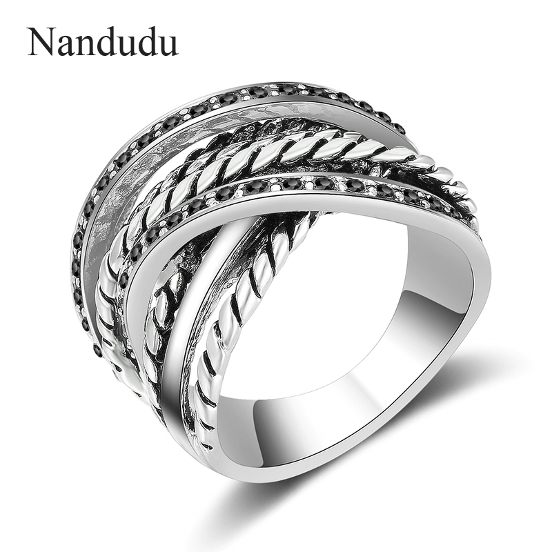 Nandudu Antique Vintage Silver Color Ring with Pave Setting Black Marcasite Blink Ring Fashion Design FLASH SALE R1981