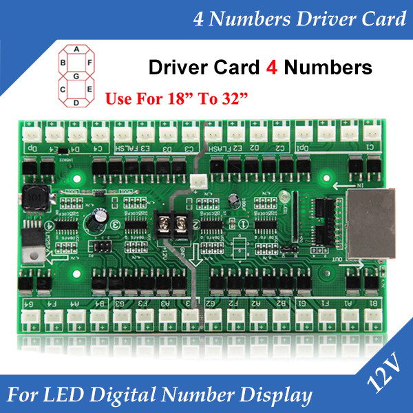 4 Numbers Driver Card Use For 18 Inch To 32 Inch LED Digital Number Module Gas Oil Price LED Sign Control Card