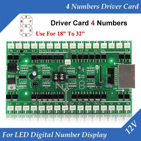 4 numéros carte de pilote utilisation pour 18 pouces à 32 pouces LED Module de numéro numérique gazole prix LED carte de contrôle de signe