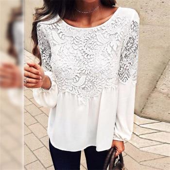 Blusa de manga larga para mujer, Blusas de Chifón con encaje para mujer, blusa blanca de talla grande 2017 para mujer