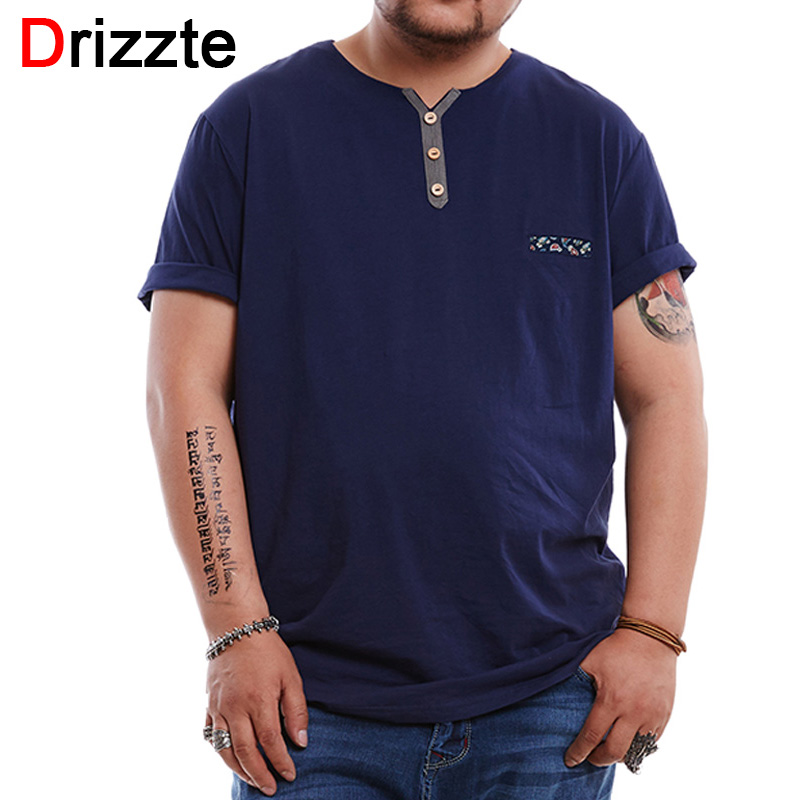 Drizzte mens plus size 2xl 6xl menswear t shirts simple for Tall size dress shirts