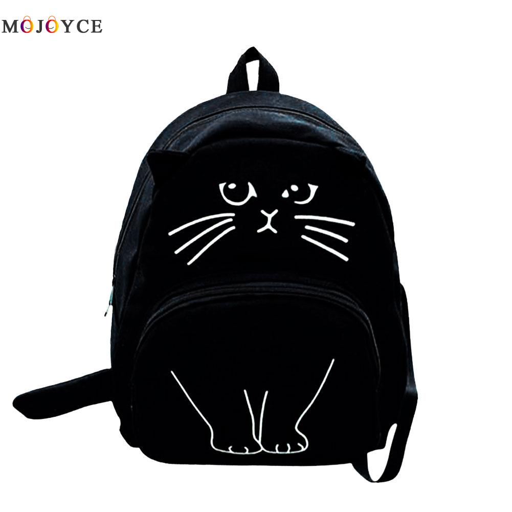 Lovely Cat Printing Backpack Women Canvas Backpack School Bags For Teenagers Ladies Casual Cute Rucksack Bookbags