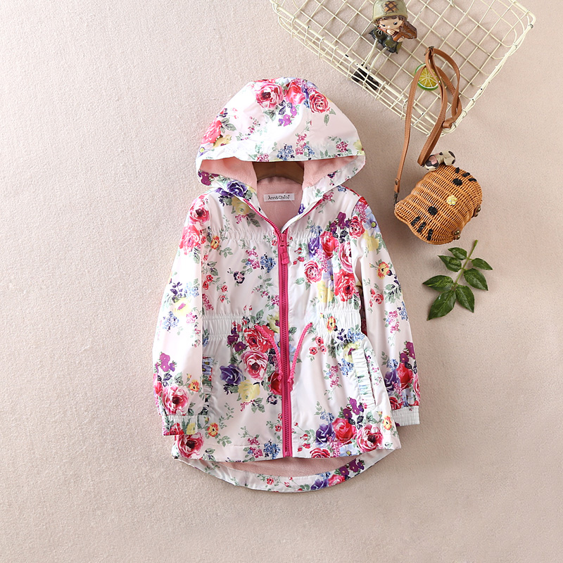 kids/girls spring/autumn hooded jacket w fleece lining or cotton lining, windproof floral jacket, girls spring trench, parka