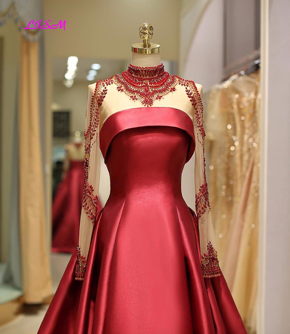 RealPhoto Elegant Illusion Long Satin Crystal Party Dress Luxury Beaded Sheer Sleeve Prom Dresses Long High Neck Formal Dresses in Evening Dresses from Weddings Events