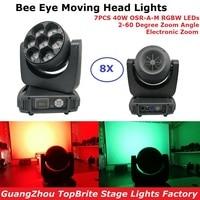 8Pcs LED Bee Eye Moving Head Lights 7X40W RGBW 4IN1 Spot / Wash Lights DMX512 Moving Head Zoom Light Professional DJ Show Lights