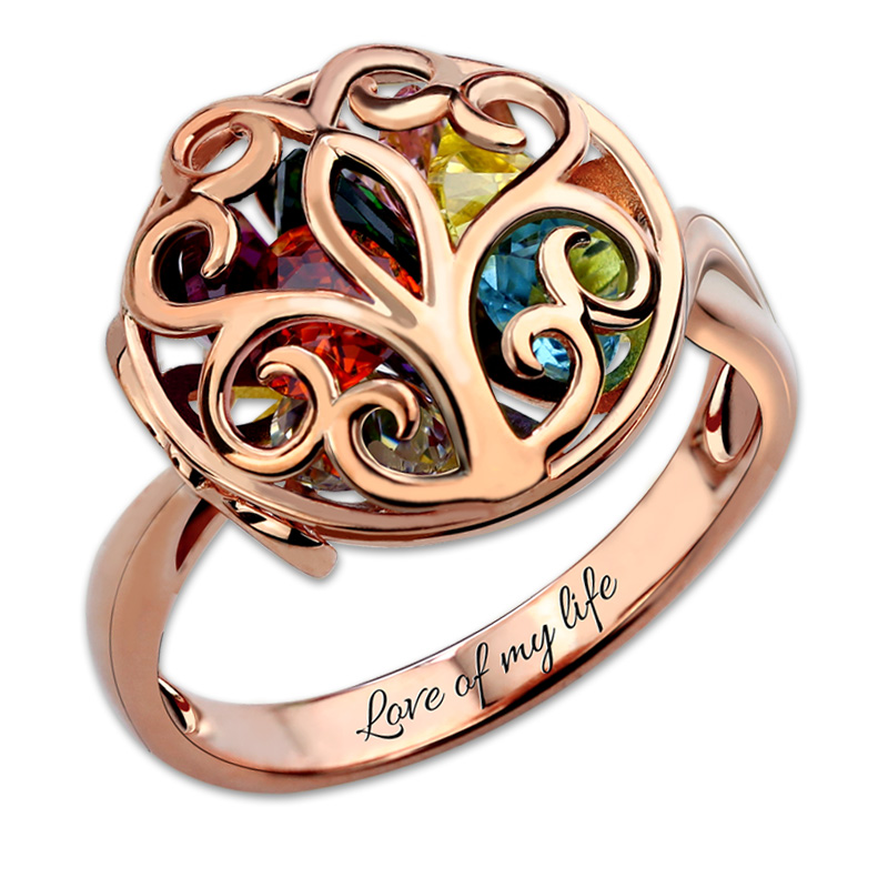 Персонализированные индивидуальные круглый клетке кольцо Семья дерево Rock N Rose Семья изделия из розового золота Цвет