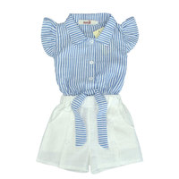 2017 New Girls Shorts Set Blue Navy Style Striped Fly Sleeve Bowknot Top White Pants Set