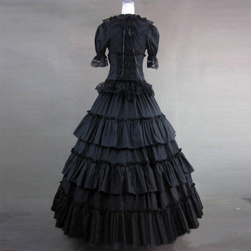 2018 czarny i biały bawełna Gothic wiktoriański sukienka na imprezę 18th wieku Retro z krótkim rękawem sąd księżniczka suknie balowe dla kobiet w Suknie od Odzież damska na  Grupa 3