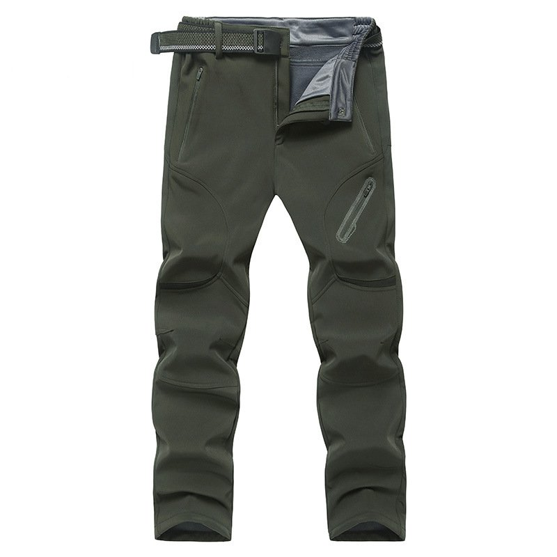 Men Hiking Pants Warm Waterproof Windproof Skiing Trekking Camping Large Size Fleece Softshell Outdoor Pants Trousers for Male in Hiking Pants from Sports Entertainment