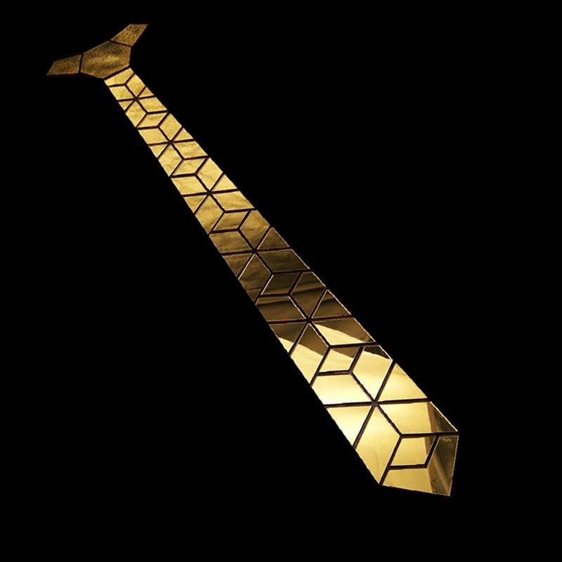 Corbata de espejo de oro brillante con forma de Diamante delgado para hombre Bling accesorio boda Club de noche cantante DJ Fashion Show Party Tie Suits - 3