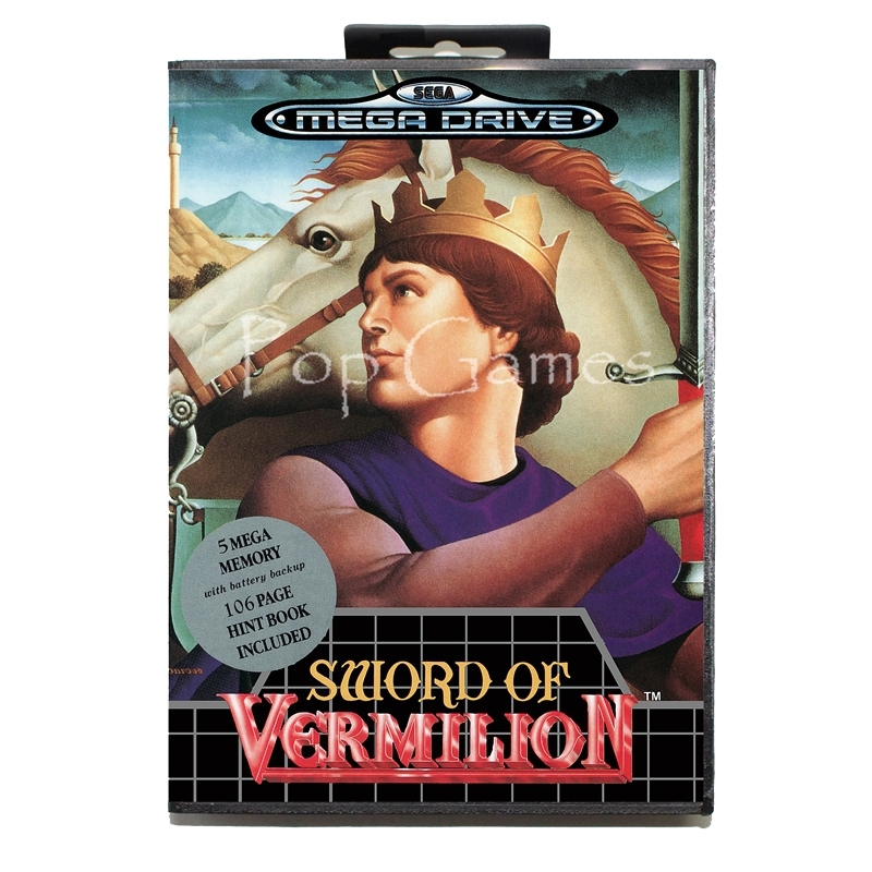 Sword of Vermillion with Box for 16 bit Sega MD Game Card for Mega Drive for Genesis Video Console