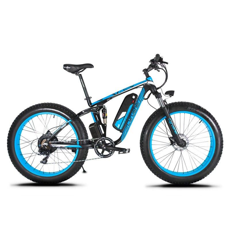 Cyrusher XF800 1000 W 48 V Bicicleta Elétrica quadro Suspensão Total 7 Velocidades Ebike widewheel velocímetro de Bicicleta de estrada ao ar livre inteligente