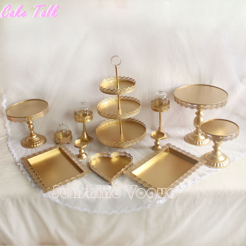 Set of 12 pieces gold cake stand wedding cupcake stand set glass dome crystal candy bar decoration cake tools bakeware set