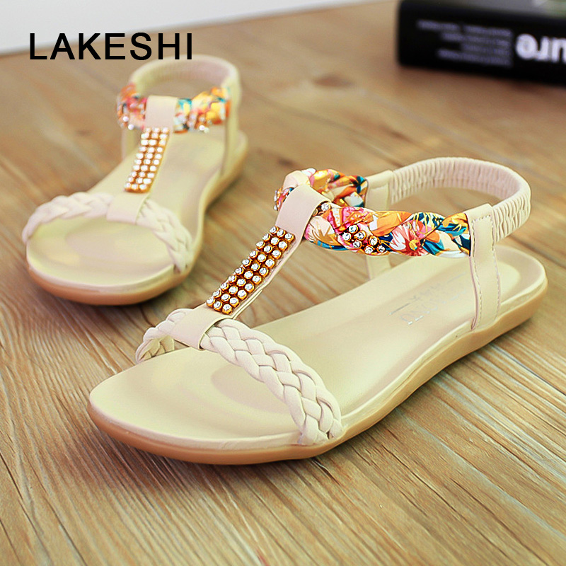 LAKESHI Women Sandals Fashion Flip Flops Women Shoes Crystal Floral Ladies Sandals 2018 Summer Flat Shoes Bohemian Beach Sandals new casual women sandals shoes summer fashion slip on female sandals bohemian wild ladies flat shoes beach women footwear bt537