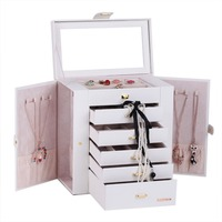 White Huge Jewelry Cabinet PU Watch Storage Box Ring Display Earrings Holder Leather Mirrored Containers Choker