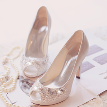 women pumps NEW ARRIVAL peep toe silver rhinestone wedding high heeled shoes peep toe crystal wedding shoes pump