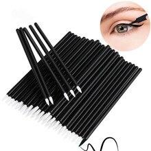 50 adet tek kullanımlık Eyeliner fırçası göz farı aplikatör güzel nokta göz kalemi kalem dudak kalemi fırçalar kozmetik değneklerini makyaj aracı seti
