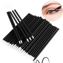50pcs Usa E Getta Pennello Eyeliner Eye shadow Applicatore Punta Fine Eye Liner Penne Lip Liner brushs Cosmetico Bacchette Attrezzo di Trucco set